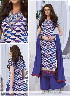 Blue N White Cotton Embroidery Work Plazzo Suit