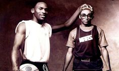 Michael Jordan and Spike Lee from their series of iconic commercials for the Air Jordan 3---As Jordan started to build the Bulls into a contender, he also began revolutionizing the concept of athlete endorsements. Mostly notably, Jordan and Nike teamed up to create the holy grail of athletic footwear of the early 90s: 'Air Jordans.' The fact that Spike Lee is not only a New York Knicks fan but he is acting as Jordan's minister of propaganda. All for fun
