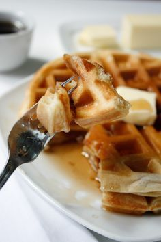 Vanilla Waffles - Chewy vanilla cake-like interior and a crispy buttery outside makes these waffles the best you'll ever have!