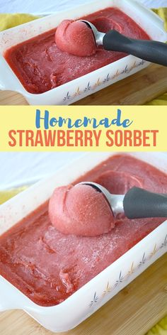 Ice cream desserts - Homemade Strawberry Sorbet I am a Honey Bee Cold Desserts, Ice Cream Desserts, Frozen Desserts, Ice Cream Recipes, Frozen Treats, Delicious Desserts, Recipes With Frozen Strawberries, Frozen Strawberry Desserts, Healthy Strawberry Recipes