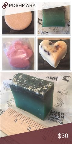 "LUSH!  FOUR PRODUCTS!!! Top left - ""Honey I Washed My Hair"" shampoo bar- LUSCIOUS honey-toffee bar. Top right - Sea Vegetable soap - Lime and lavender, seaweed and salt scrubber (see 2nd pic for size). Bottom left - Snow Fairy Sparkle - sweet sparkly lotion bar, angel shaped. Bottom right - Soft Coeur massage bar- romantic chocolate and honey bar. LUSH Makeup"