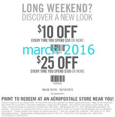 Aeropostale Coupons PROMO expires May 2020 Hurry up for a BIG SAVERS Aeropostale is a specialized retailer of casual apparel and accesso. Free Printable Coupons, Free Printables, Long Weekend, Aeropostale, Hot, March, Free Printable, Mac