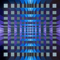 Yvaral, Jean Pierre Vasarely   Title: Structure Ambigue Quadri,   Medium: Acrylic on Board