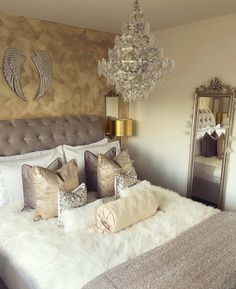 Sleigh Bed in a Gold and Silver Bedroom Interior Living Room Decor Grey And White, Grey And Gold Bedroom, Glam Master Bedroom, Gold Bedroom Decor, Silver Bedroom, Pretty Bedroom, Bedroom Colors, Home Bedroom, Bedroom Ideas
