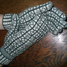 Traditional gloves knitted in the town of Sanquhar, Dumfriesshire, Scotland.