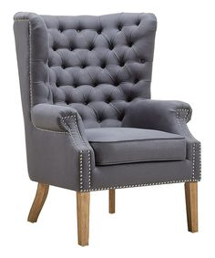 Look at this Abe Gray Linen Wing Chair on #zulily today!