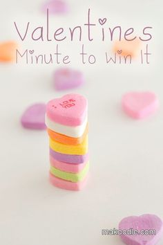 Valentines Minute to Win It Games for Valentines PartyValentines Minute to Win It Games for School Valentine's Day Party... Candy heart relay, candy heart stacking, candy corn stick up, and marshmallow toss. Some cute and easy ideas!
