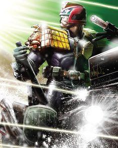 Judge Dredd by Whilce Portacio Comic Book Characters, Comic Character, Comic Books Art, Book Art, Dc Comics, Anime Comics, Judge Dredd Comic, Judge Dread, 2000ad Comic