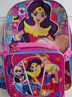 DC Trios Wonder Woman Super Hero Girls BACKPACK detachable lunch bag 16  inches 3c3d5d379f