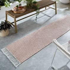 Malmo Recycled Runners - Shop Online Hall Runner, Rug Runner, Yellow Background, Garden Inspiration, Pink And Green, Blush Pink, Monochrome, Recycling, Rugs