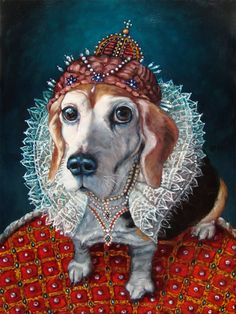 Regal Beagle, pet in costume, custom Pet Portrait Oil Painting by puci, 16x20""
