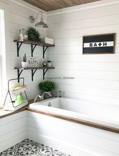 Complete DIY bath renovation, shiplap, planked ceilings, soaking tub, barn light sconce