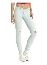 Trendy Skin Tight, Shredded & Flare Denim Jeans: Charlotte Russe