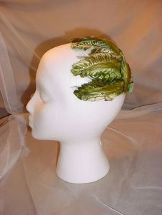 Vintage Ladies Green Hat with Feathers and Velvet Bow 1950s #SkullCap Seller florasgarden on ebay