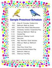 schedule preschool sample pdf - Daycare Advertising Examples