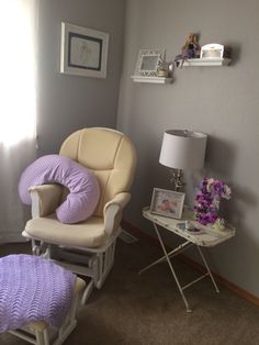 Table, lamp, mirror and lite bird from Hobby Lobby. Floral E instructions in Little Missy board. I used a sleeping beauty print, porcelain doll, and music box I had for decor. My friend made the boppy cover and my grandma made the blanket.  #sleepingbeauty #greynursery #lavendernursery