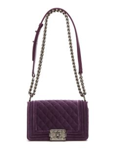 3e5b13d829d Purple Quilted Velvet Small Boy Shoulder Chain Bag by Chanel at Gilt Chanel  Chain Bag
