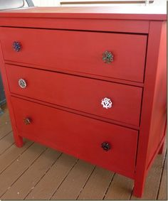 Red Fireman Dresser, New Knob Shop, and an Annie Sloan Chalk Paint Giveaway!! from Twice Lovely