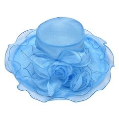 A341 Womens Organza Flower Kentucky Derby Wide Brim Sun Hat