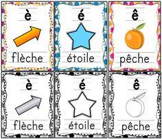 """6 affiches gratuites (couleurs et noir/blanc) sur les """"e"""": è, é, ê."""