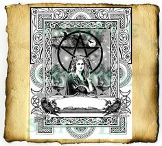 """Digital Graphic """"The Morrigan"""" - BoS Page, Wiccan Pagan Druid Coloring Page"""