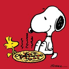 """EATING PIZZA: Snoopy & Woodstock eating pizza. (""""Pizza!!!) --Peanuts Gang/Snoopy & Woodstock"""