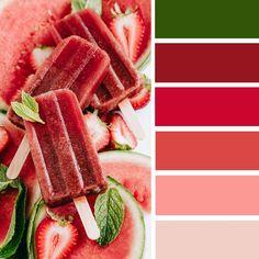 100 Color Inspiration Schemes : Red Melon + Green Color Palette #color #colorpalette #colors