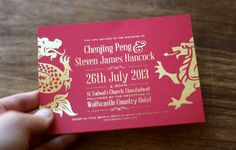 Our wedding invitation designed by Mandy Awesome Frearson! Bringing together Chinese and Welsh culture