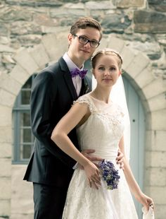 Wedding - formal pics - purple flowers and bowtie