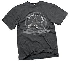 Mens Hershels Farm Vintage Style Zombies Barn T-Shirt  X-Large  Dark Gray