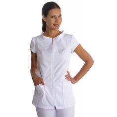 chaqueta manga corta con cremallera dyneke para sanidad, estetica y spa
