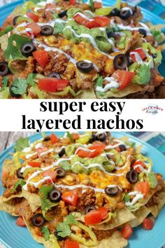 super easy layered nachos are a quick weeknight meal the entire family will love. Customize with toppings to suit your tastebuds! Beef Recipes, Mexican Food Recipes, Cooking Recipes, Healthy Recipes, Easy Nachos Recipe Beef, Healthy Nachos, Homemade Nachos, Mexican Cooking, Cheap Recipes