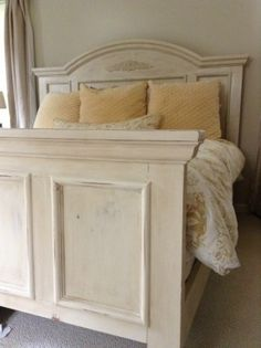 Bed painted with Annie Sloan old ocre chalk paint; distressed and finished with clear and dark waxes