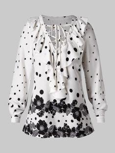 Plus Size Lace Up Ruffles Polka Dot Flower Print Blouse Plus Size Womens Clothing, Plus Size Outfits, Plus Size Fashion, Red Blouses, Blouses For Women, Ruffles, Scarf Shirt, Crop Top Shirts, Lace Shirts