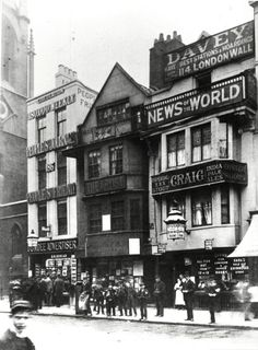 News Photo : View of shop fronts along Fleet Street, London,. London Now, Old London, London Life, London Street, Victorian Street, Victorian London, Vintage London, Victorian Era, London History