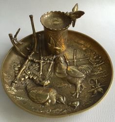 """Online veilinghuis Catawiki: Animal bronze inkwell """"attributed"""" to A.N. CAIN, France, ca. 1900"""