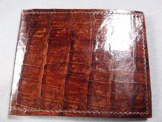 New Handmade Genuine Brown Alligator - Crocodile Skin Premium Bifold  Wallet 48