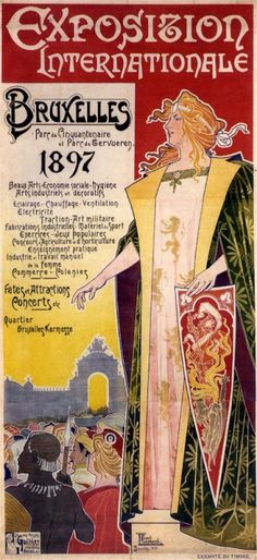 Poster design by Henri Privat-Livemont for the 'Exposition Internationale' held in Brussels in 1897.