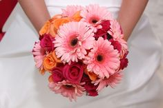 Hot Pink Roses, Tropical Roses, and Soft Pink Gerbera Daisies Wedding Bouquet