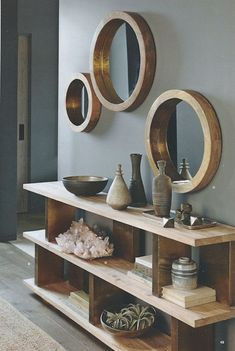 Round mirrors are held by thick wooden frames that evoke the glamour of a luxury liner. Shiny brass trim on the inner rim accentuates the clean and simple design. Made of mango wood with a waxed finish. x deep Medium dia. Decoration Hall, Entryway Decor, Entryway Mirror, Ikea Mirror, Table Mirror, Modern Entryway, Entryway Ideas, Hallway Ideas, Modern Interior Design