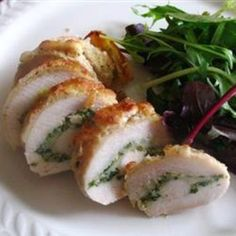 Pesto Cheesy Chicken Rolls - Note: the recipe is flawed because there is obviously a coating on the chicken that they do NOT list in the recipe but looks like a great IDEA