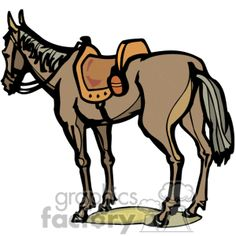 Cartoon of A Brown Horse Standing Still with a Saddle on it vector clip art image number Image formats available GIF, JPG, PNG and printable EPS, SVG. Western Clip Art, Royalty Free Clipart, Brown Horse, Inktober, Art Images, Be Still, Cowboys, Moose Art, Horses