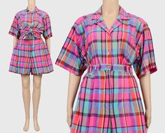 Vintage 90s Checkered Plaid Shorts Set   Two Piece Matching Set   Button Up Shirt   High Waisted Pleated Shorts   Preppy Summer   Large L by SHOPPOMPOMVINTAGE on Etsy