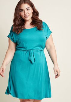 Seen as Sophisticated Knit Dress in Aqua - As you go about your day in this simple, yet sweet dress, onlookers see you for what you are - a stylista and a sophisticate. Part of our ModCloth namesake label, this super-soft top relies on its solid turquoise tone, decorative shoulder buttons, and drawstring-cinched waist to let it stand out from the norm. And, succeed it does!