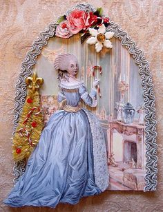 This is for a swap that I am hosting with the Marie Antoinette Mail Art Group. Altered Canvas, Altered Art, Marie Antoinette, Sue Sunbonnet, Paper Art, Paper Crafts, French Rococo, Collage, Atc Cards