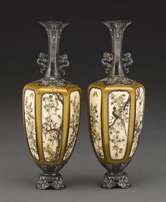 A pair of Shibayama style silver-mounted lacquer vases By Masamitsu, Meiji period, late 19th century