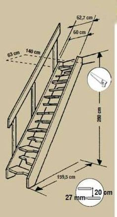 Analysis of Staircase and its Development from the Sketch Idea Space Saving Staircase, Loft Staircase, Attic Stairs, Staircase Design, Attic Loft, Attic Rooms, Stair Ladder, Building Stairs, Building Code