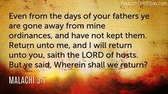 Daily Bible Verse Malachi 3:7