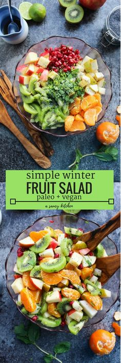 Simple Winter Fruit Salad made with seasonal ingredients and tossed in a maple-lime dressing. | Naturally Vegan   Gluten Free   Paleo