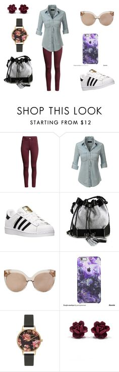 """""""Untitled #104"""" by catia-santos on Polyvore featuring H&M, LE3NO, adidas, Carianne Moore, Linda Farrow, Olivia Burton, women's clothing, women, female and woman"""